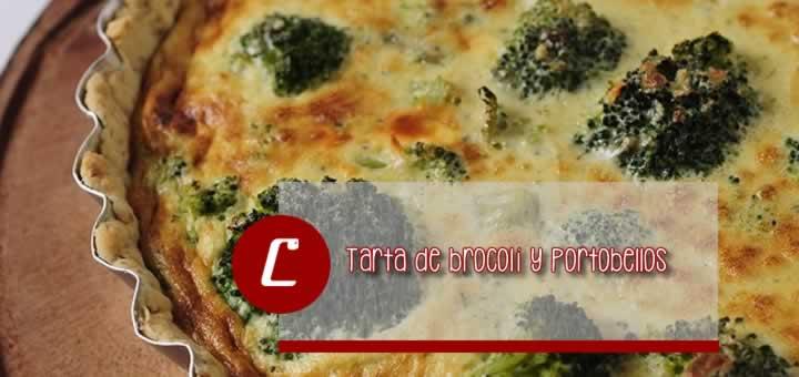 Tarta de brocoli y portobellos